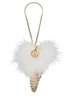 Rosantica Crystal-Embellished Feather Ice Cream Clutch