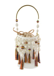 Rosantica Laura Woven Tasseled Minaudiere Bag