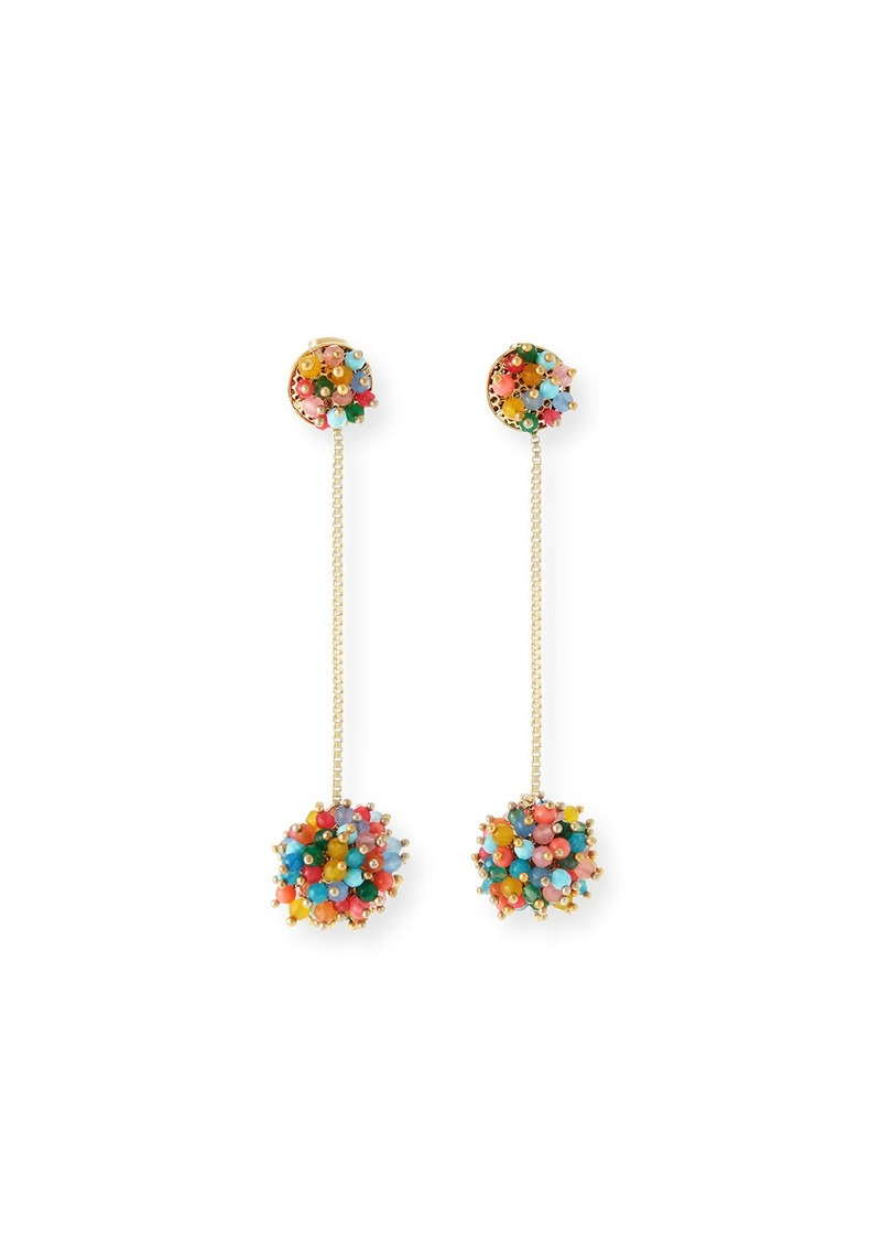 Rosantica Multicolor Pompom Drop Earrings
