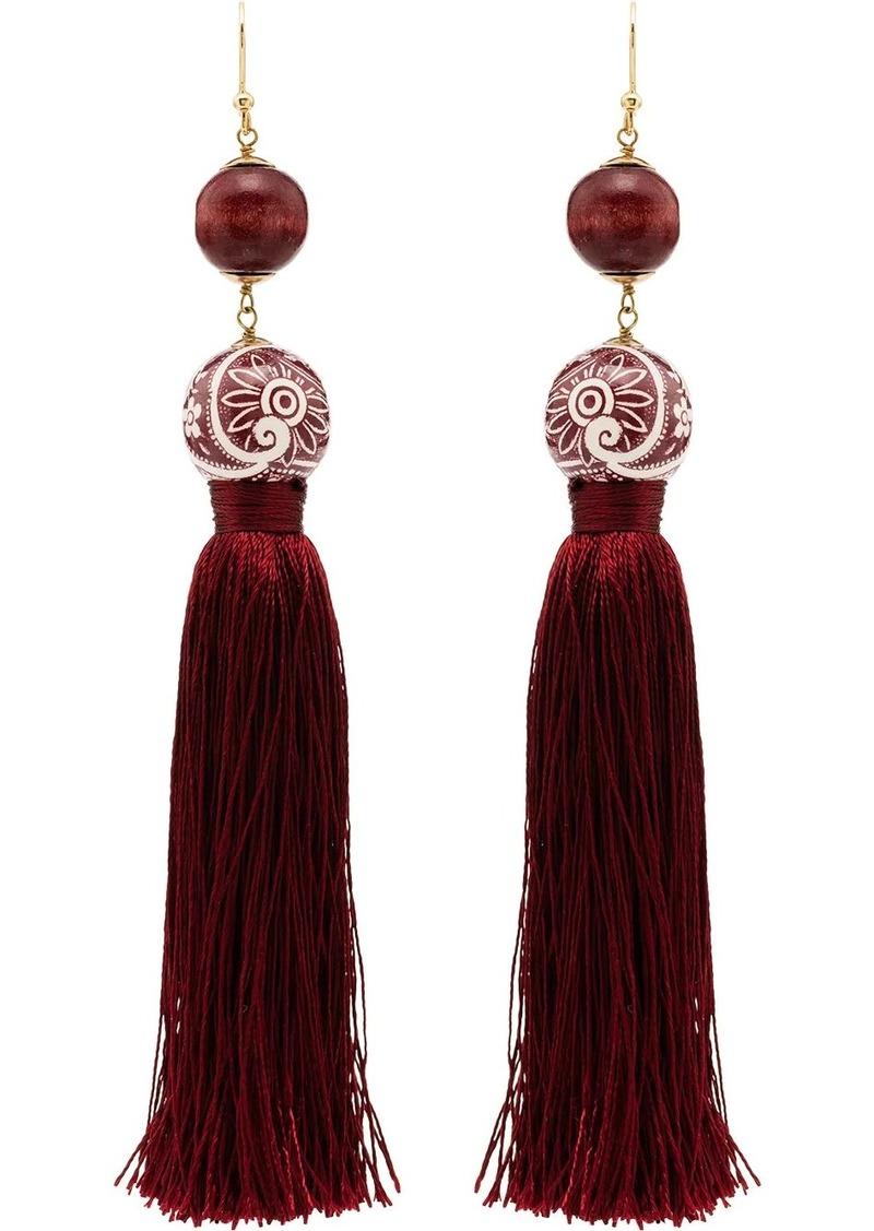 Optic tassel bead drop earrings