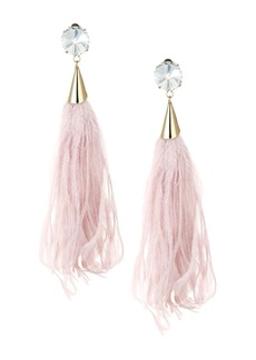 Rosantica Rivoluzione Crystal & Feather Clip-On Drop Earrings