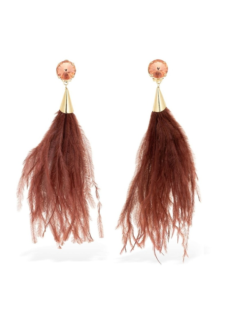 Rosantica Rivoluzione Feathers & Crystal Earrings