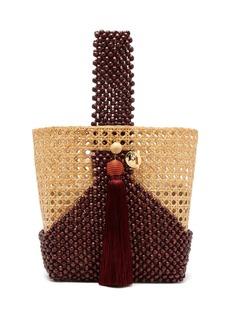 Rosantica By Michela Panero Budd wicker and beaded-wood bucket bag
