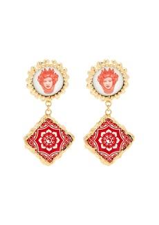 Rosantica By Michela Panero Ciucciue face & tile drop earrings