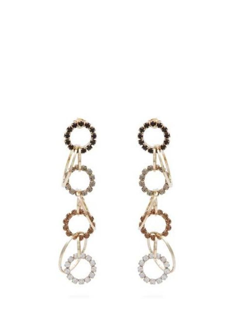 Rosantica By Michela Panero Rock crystal-encrusted hoop-drop earrings