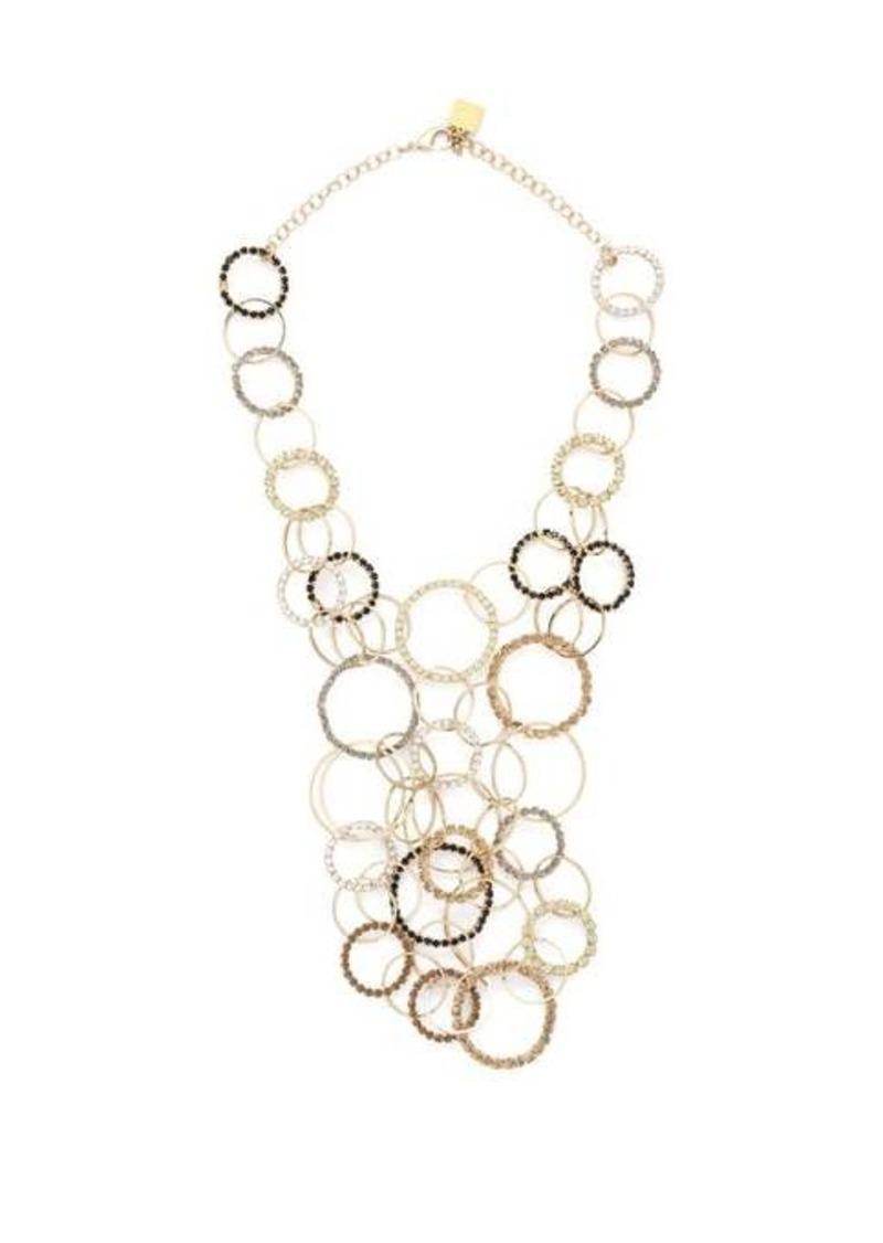 Rosantica By Michela Panero Rock crystal-encrusted hoops necklace