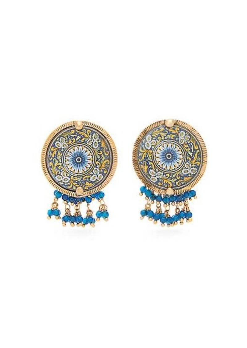 Rosantica By Michela Panero Sicilia beaded tile clip earrings