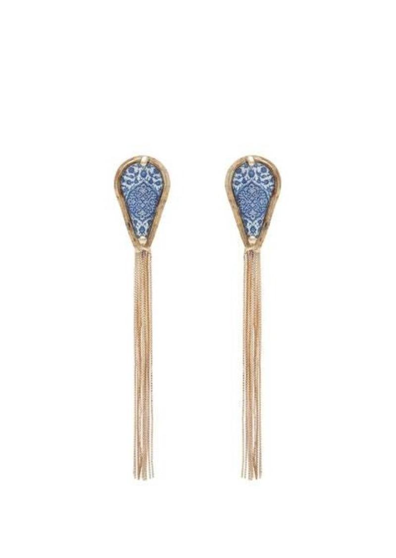 Rosantica By Michela Panero Sicilia tasselled tile clip earrings