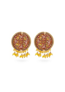 Rosantica By Michela Panero Sicilia tile beaded clip earrings