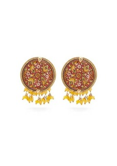 Rosantica Sicilia tile beaded clip earrings