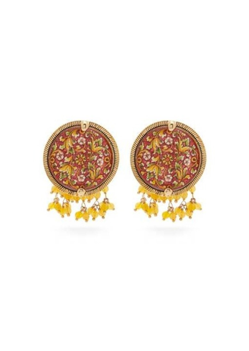 Rosantica By Michela Panero Sicilia tile beaded clip earrings