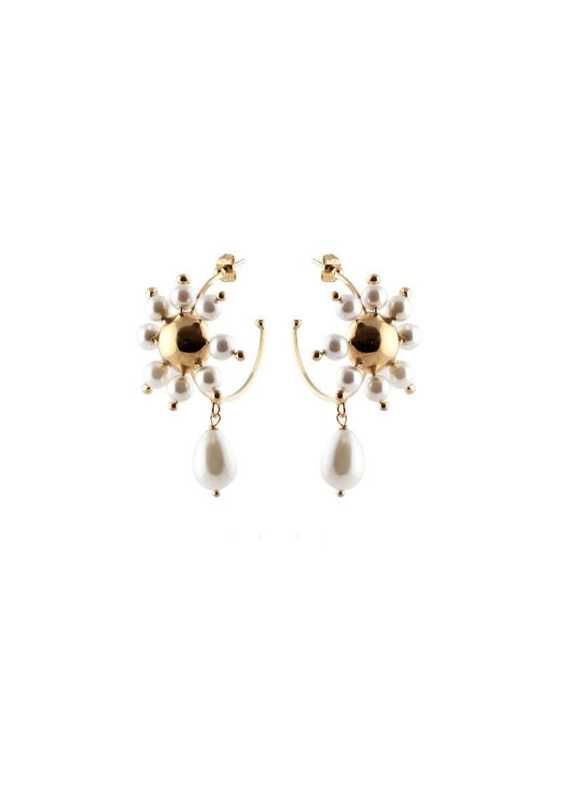 Rosantica Daisy Faux Pearl Hoop Earrings