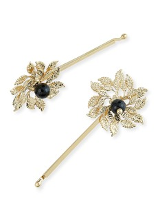 Rosantica Grace Brass Acanthus Leaf Bobby Pins  Set of 2