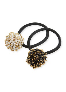 Rosantica Pompon Faux-Pearl & Onyx Cluster Ponytail Holders  Set of 2