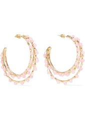 Rosantica Woman Angola Gold-tone Quartz Hoop Earrings Baby Pink