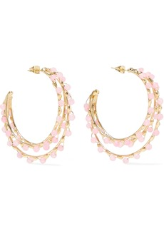 Rosantica Woman Angola Gold-tone Quartz Hoop Earrings Baby Pink