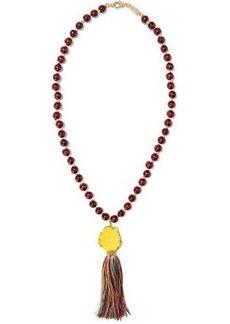 Rosantica Woman Caipirinha Tasseled Beaded Wood And Gold-tone Necklace Burgundy