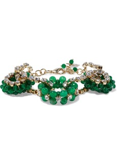 Rosantica Woman Courmayer Gold-tone Quartz And Crystal Bracelet Emerald