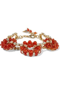 Rosantica Woman Courmayeur Gold-tone Bead And Crystal Bracelet Tomato Red