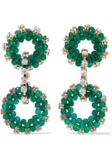 Rosantica Woman Courmayeur Gold-tone Crystal And Quartz Earrings Emerald