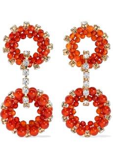 Rosantica Woman Courmayeur Gold-tone Crystal And Quartz Earrings Orange