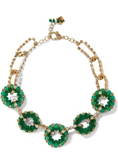 Rosantica Woman Courmayeur Gold-tone Quartz And Crystal Necklace Green