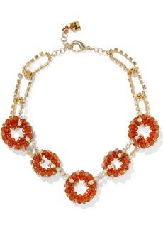 Rosantica Woman Courmayeur Gold-tone Quartz And Crystal Necklace Orange