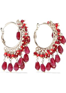 Rosantica Woman Curry Gold-tone Beaded Hoop Earrings Claret