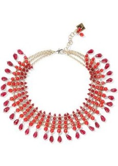 Rosantica Woman Curry Gold-tone Beaded Necklace Claret