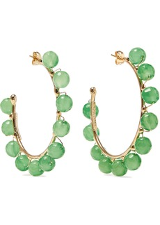 Rosantica Woman Dada Gold-tone Quartz Hoop Earrings Green