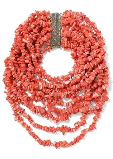 Rosantica Woman Fato Gold-tone Beaded Necklace Papaya