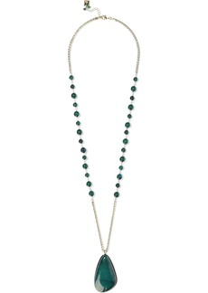 Rosantica Woman Gold-tone Bead And Stone Necklace Emerald