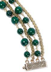 Rosantica Woman Gold-tone Beaded Bracelet Emerald
