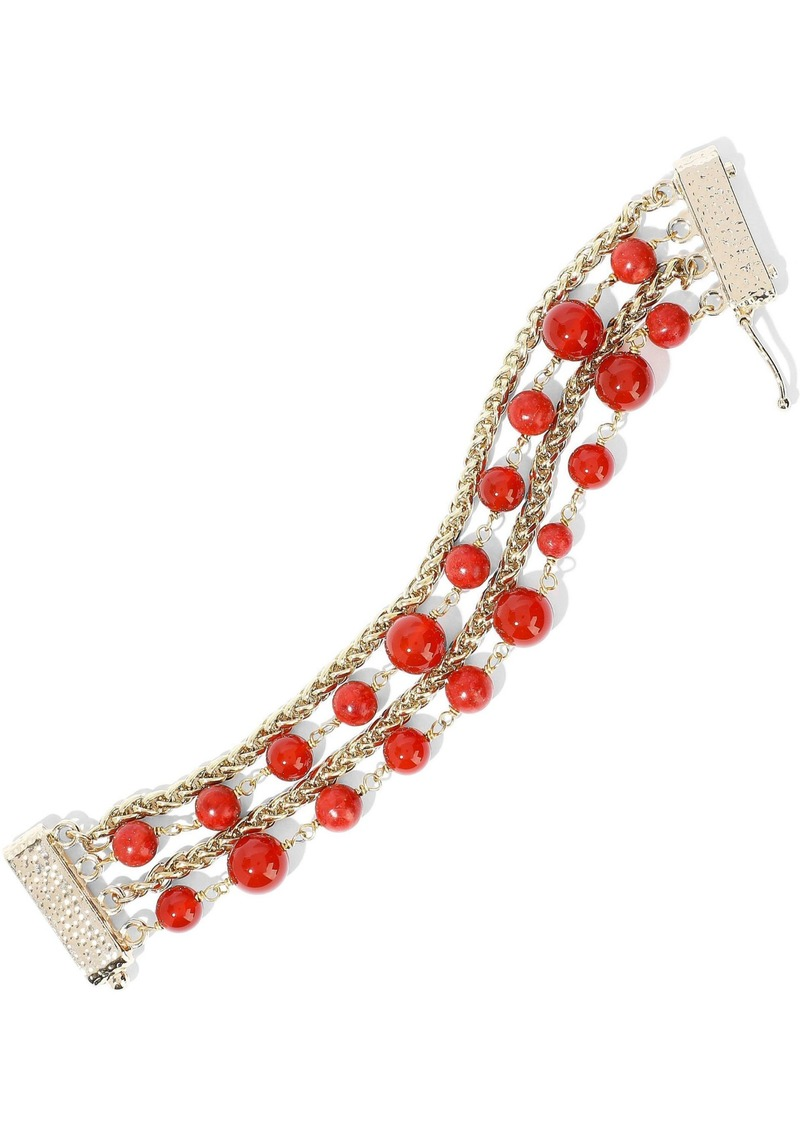 Rosantica Woman Gold-tone Beaded Bracelet Red