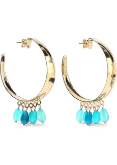 Rosantica Woman Gold-tone Beaded Hoop Earrings Turquoise