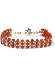 Rosantica Woman Gold-tone Crystal And Bead Necklace Red