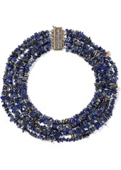 Rosantica Woman Hammered Gold-tone Stone Necklace Blue