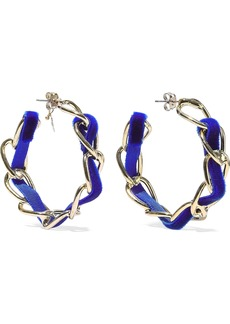 Rosantica Woman Mirto Gold-tone Velvet Hoop Earrings Blue