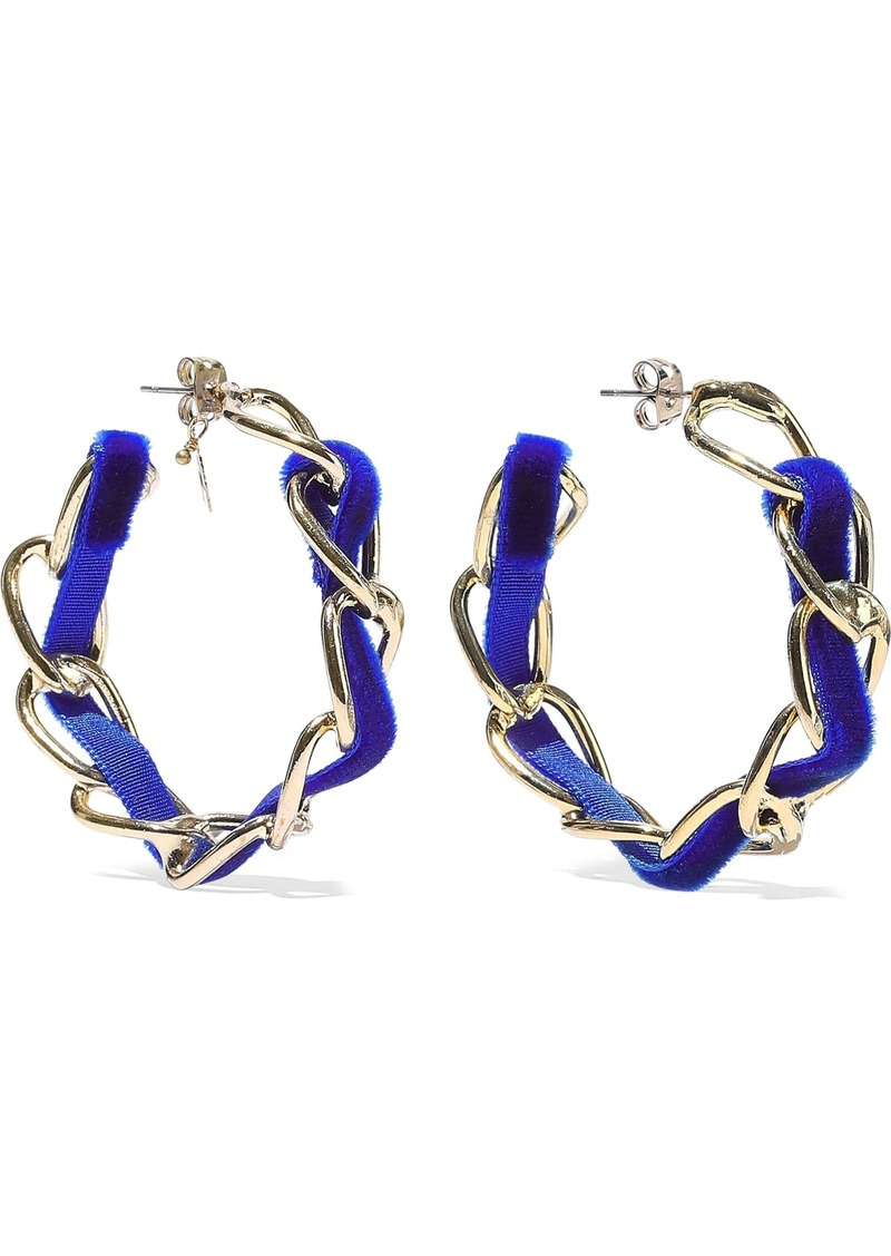 Rosantica Woman Mirto Gold-tone Velvet Hoop Earrings Blue