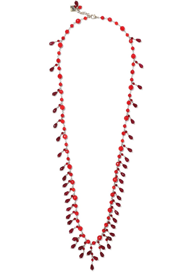 Rosantica Woman Ross Gold-tone Beaded Necklace Burgundy