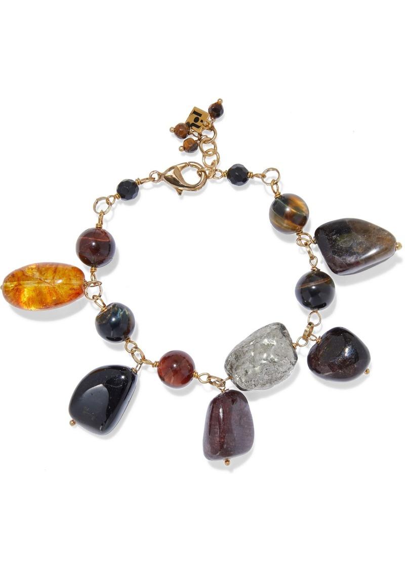 Rosantica Woman St. Moritz Gold-tone Stone Bracelet Black
