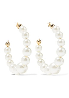 Rosantica Woman Vapore Gold-tone Faux Pearl Hoop Earrings Platinum