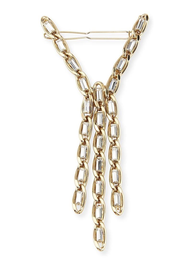 Rosantica Slim Brass Curb Chain Hair Pin w/ Crystal Trim
