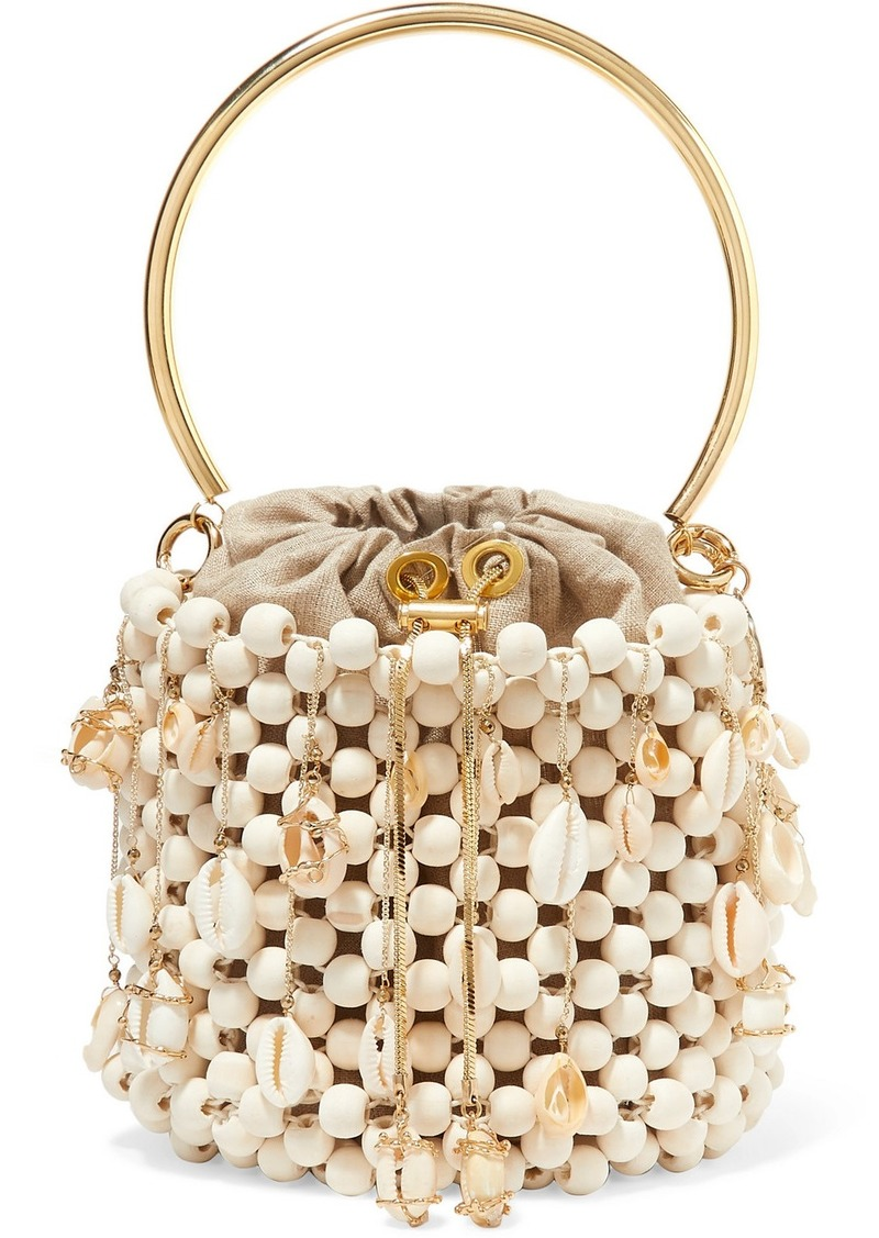 Vega Embellished Beaded Bucket Bag