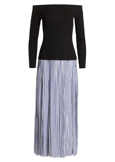 Rosie Assoulin At The Carwash Off-The-Shoulder Solid & Stripe Maxi Dress