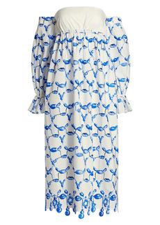 Rosie Assoulin Bead-Print Strapless Bell Cuff Dress