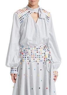 Rosie Assoulin Beaded Cotton Blouse