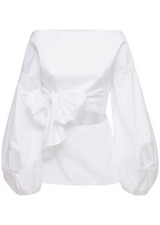Rosie Assoulin Belted Cotton Poplin Shirt W/ Cutout