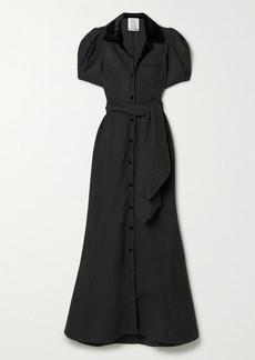 Rosie Assoulin Belted Velvet-trimmed Wool Maxi Dress