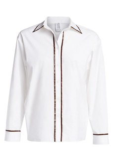 Rosie Assoulin Classic Faux-Leather Trimmed Button-Down Shirt